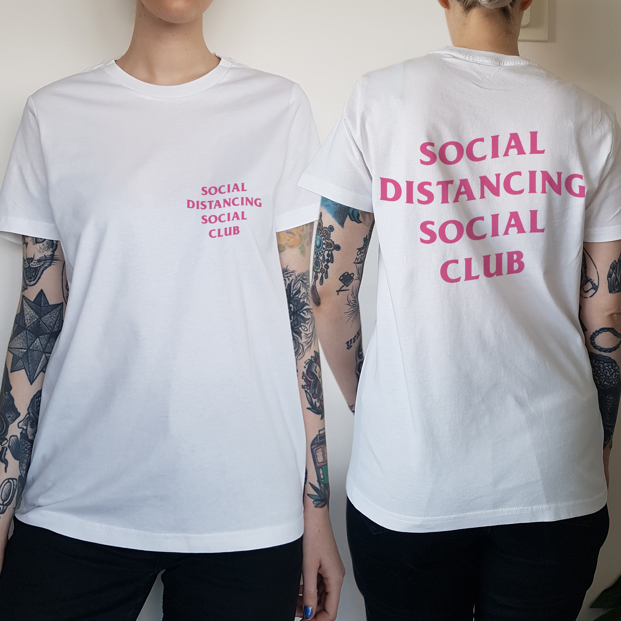 WOMENS SOCIAL DISTANCING FRONT AND BACK TEE