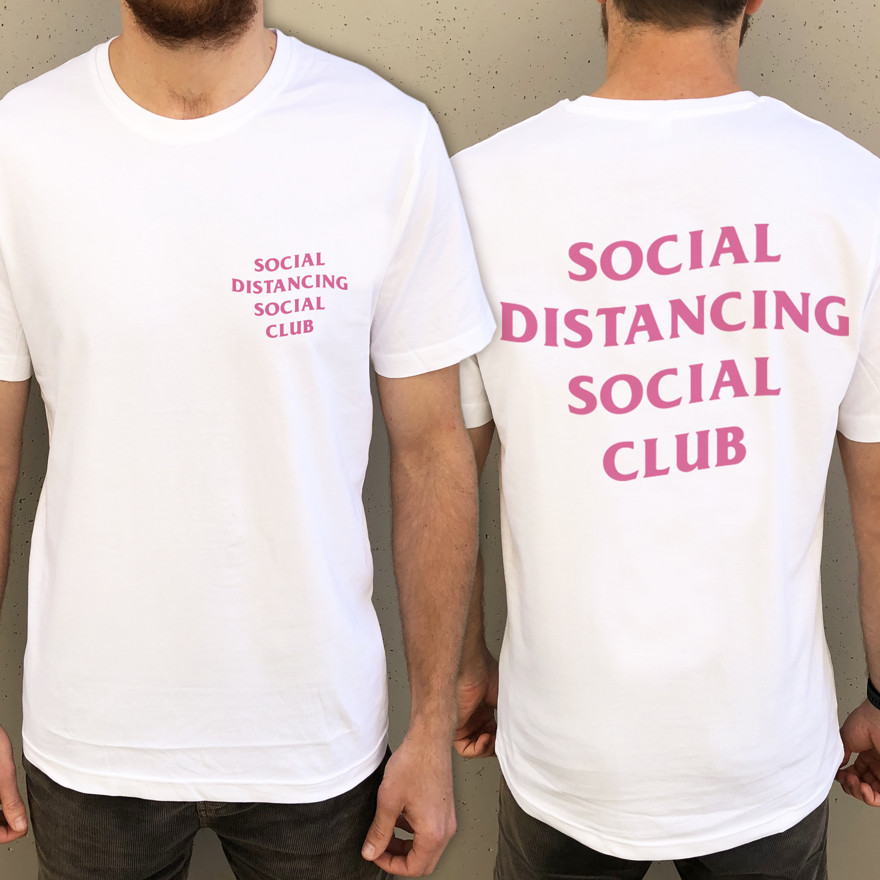SOCIAL DISTANCING FRONT AND BACK WHITE TEE