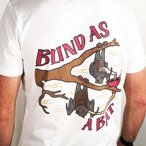 BLIND AS A BAT FRONT AND BACK TEE