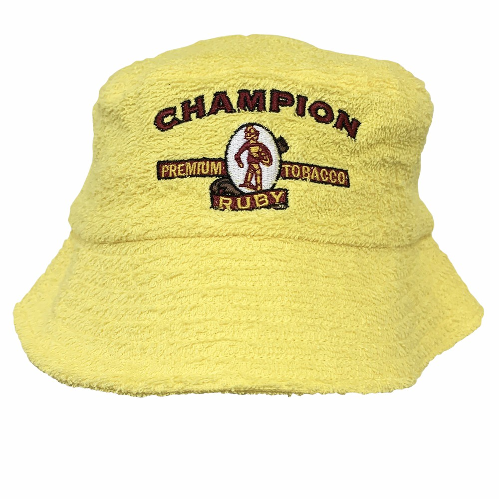 VINTAGE YELLOW CHAMPION TERRY TOWELLING BUCKET HAT