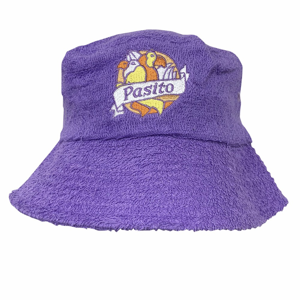 VINTAGE PURPLE PASSIONFRUIT TERRY TOWELLING BUCKET HAT