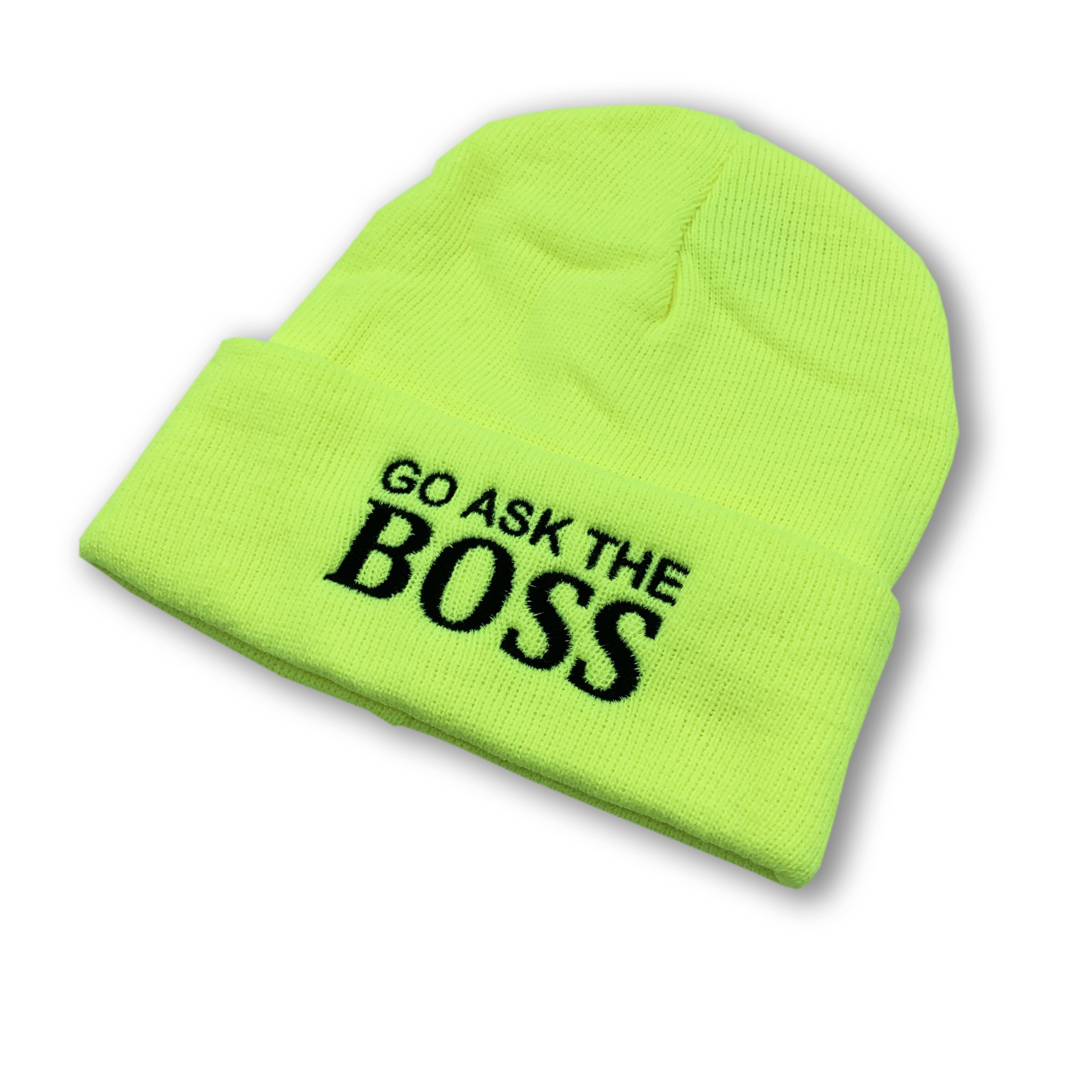 LIME GREEN HI VIS ASK THE BOSS BEANIE