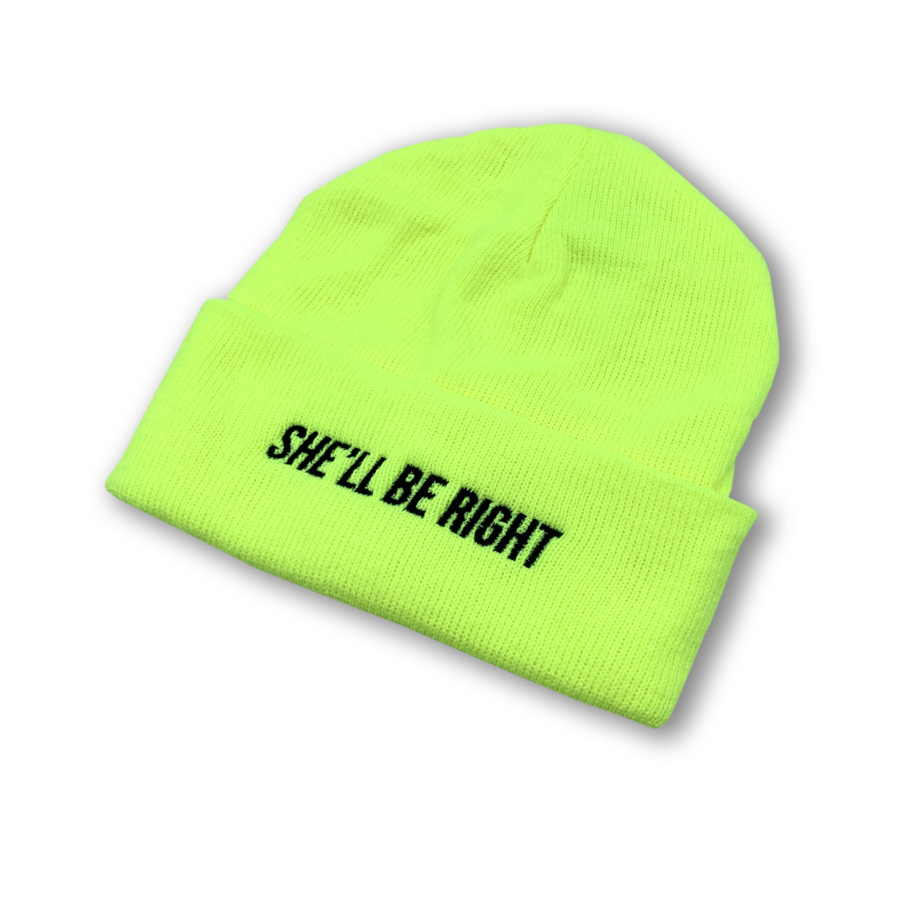 LIME GREEN HI VIS SHE'LL BE RIGHT BEANIE