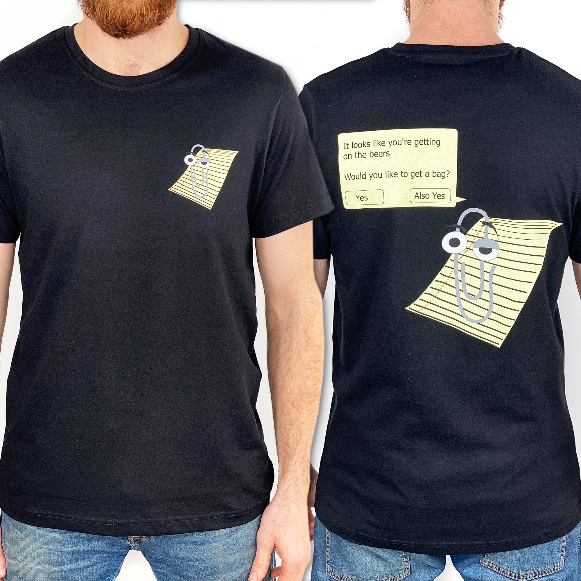BLACK CLIPPY FRONT AND BACK TEE