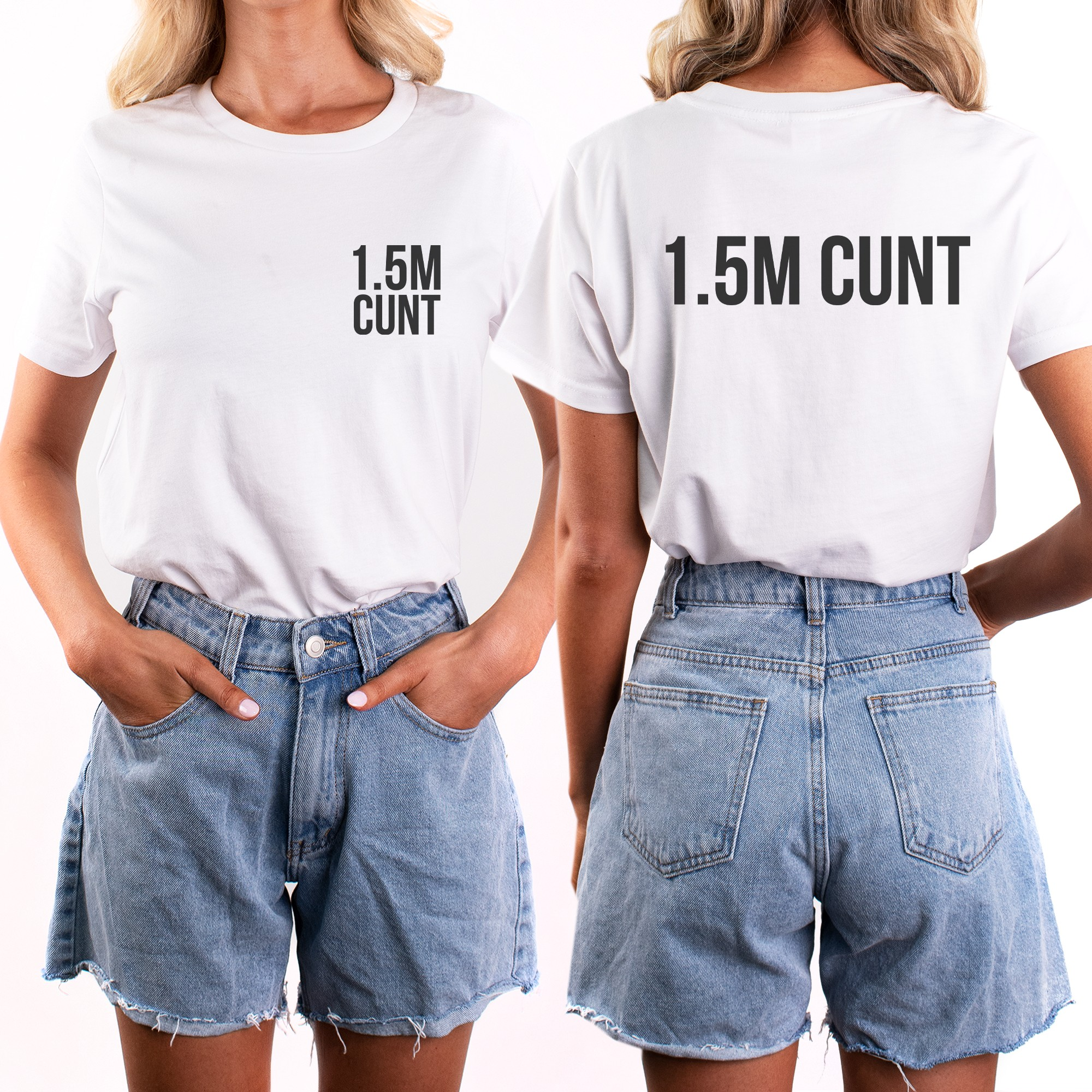 1.5M FRONT AND BACK WHITE TEE