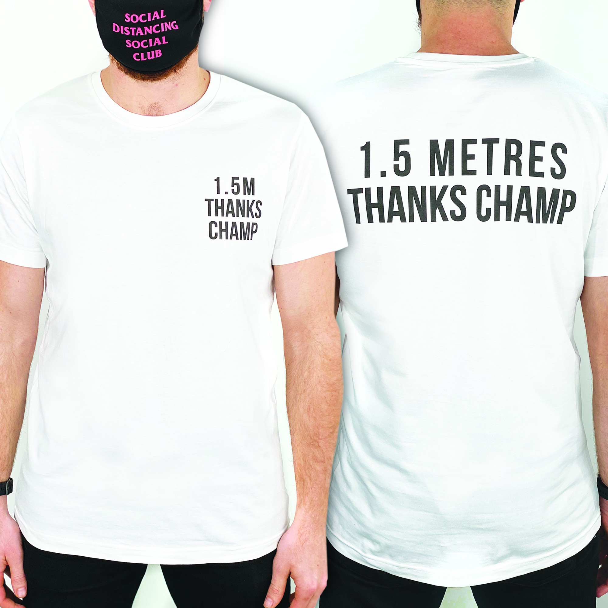 THANKS CHAMP FRONT AND BACK WHITE TEE