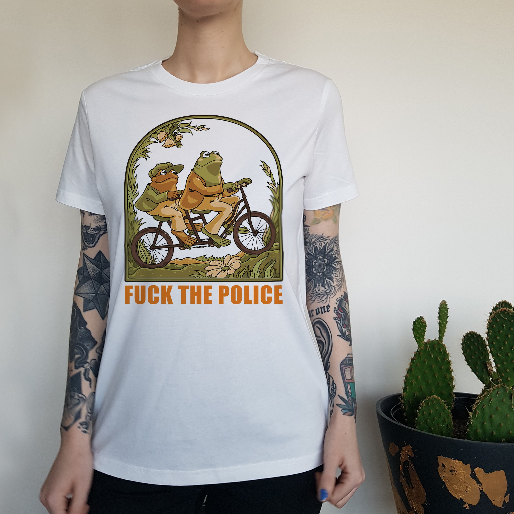 WOMENS F THE POLICE WHITE TEE