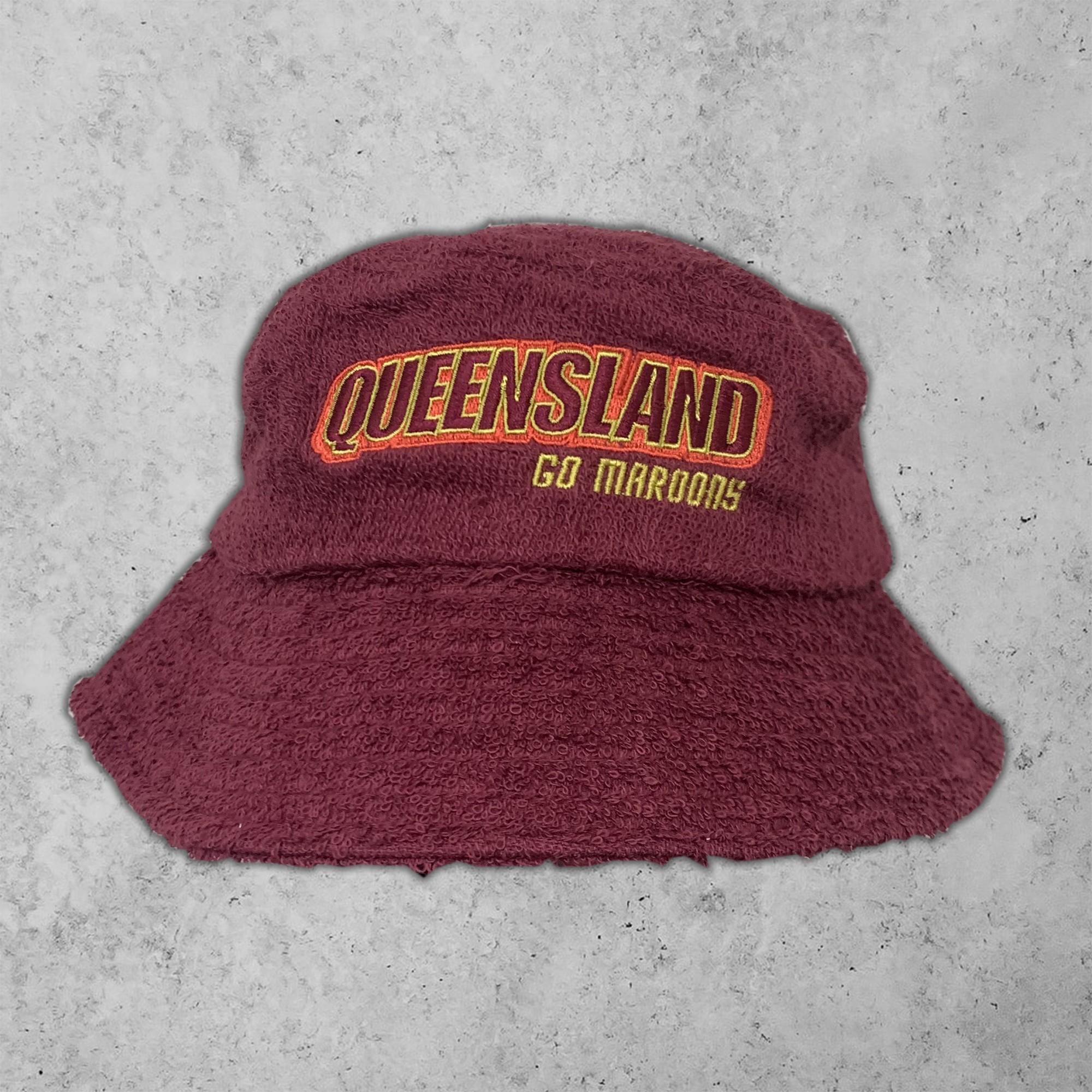 QUEENSLAND MAROON TERRY TOWEL BUCKET HAT