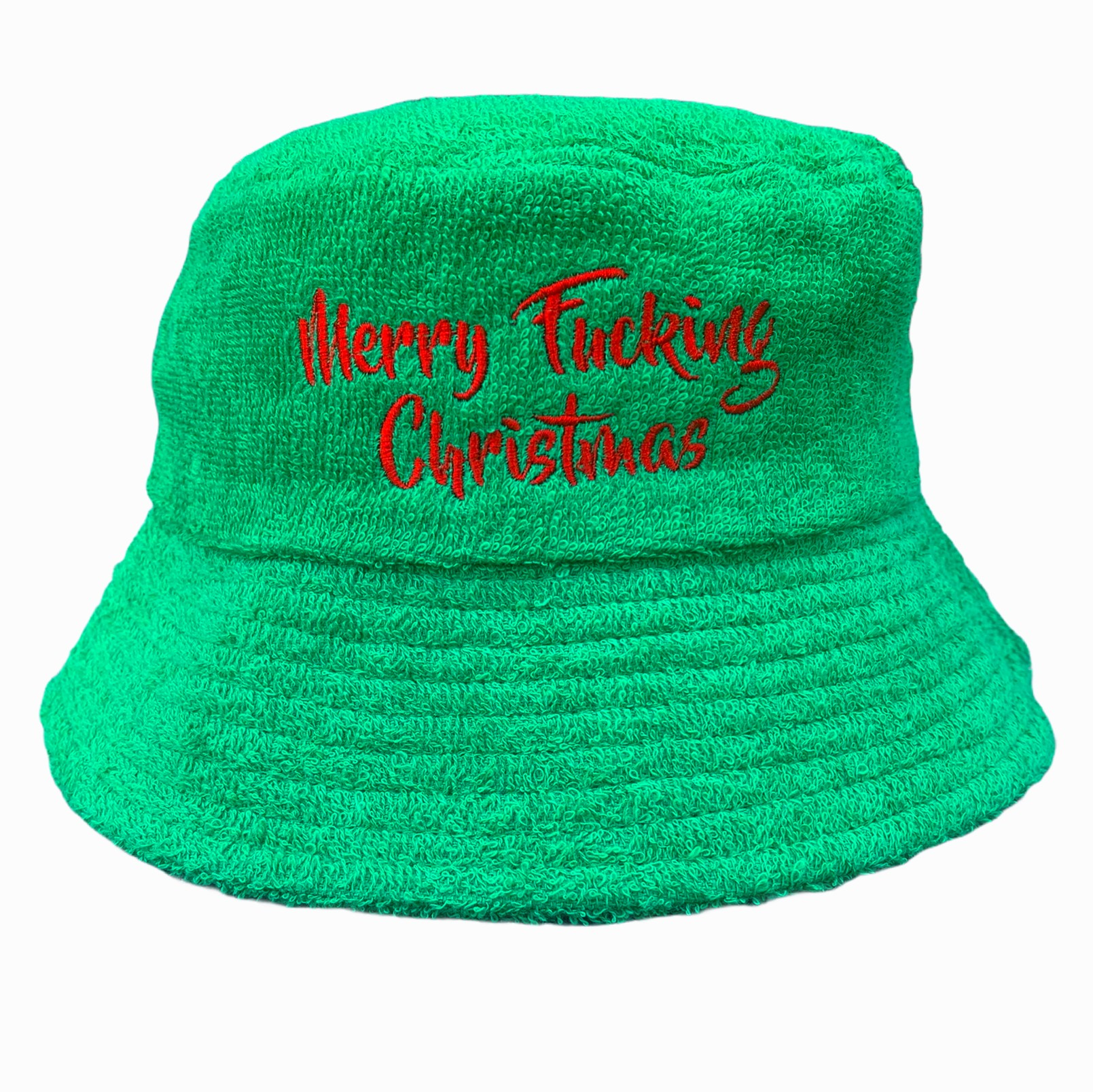 GREEN MERRY CHRISTMAS TERRY TOWEL BUCKET HAT