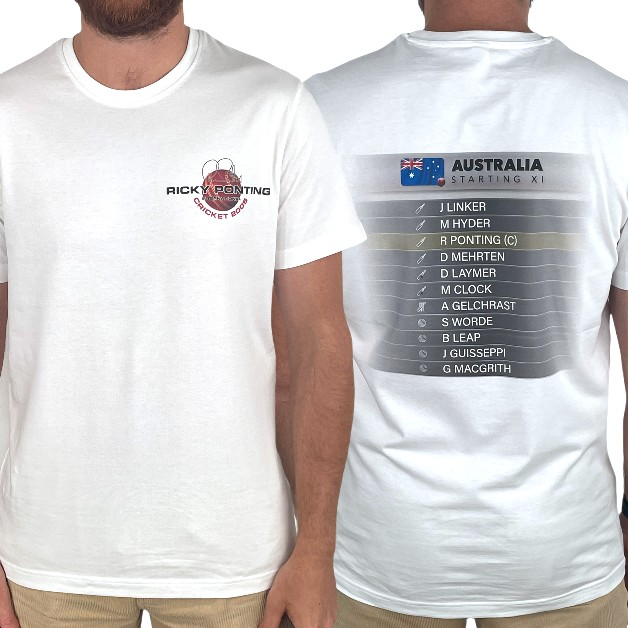 2005 STARTING XI FRONT AND BACK WHITE TEE