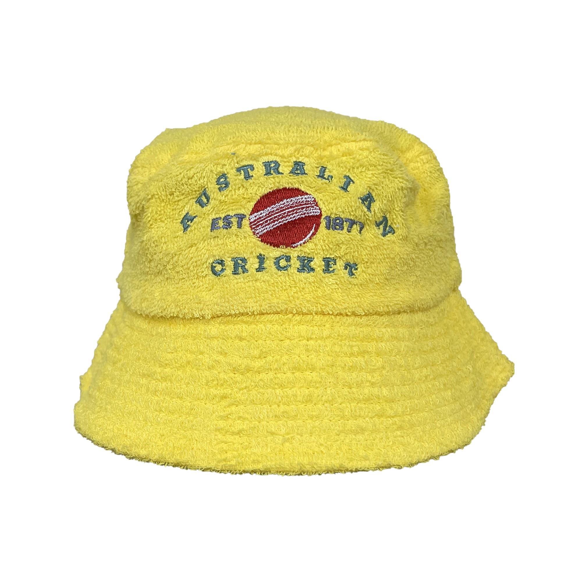 VINTAGE AUSTRALIAN CRICKET YELLOW TERRY TOWEL BUCKET HAT
