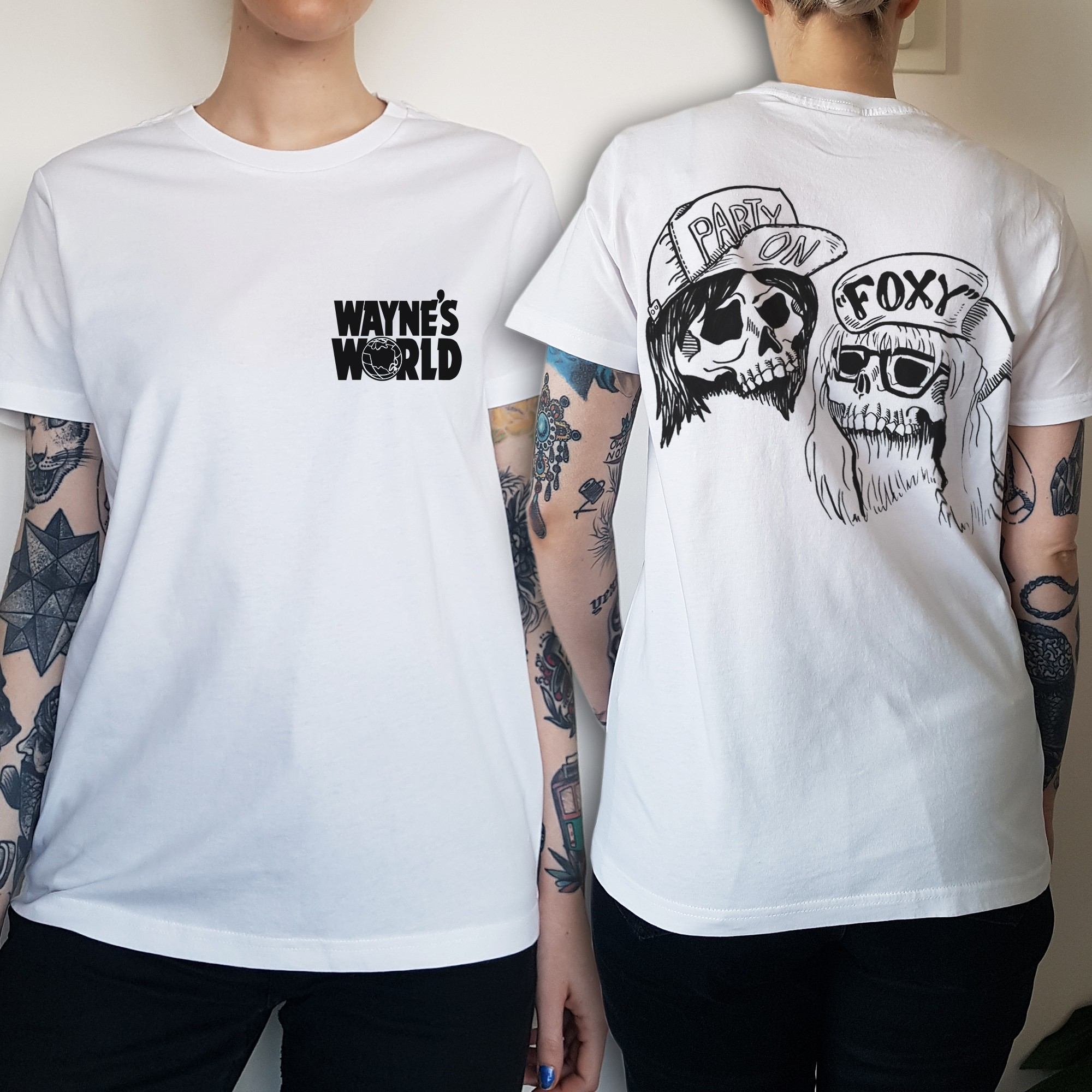 WOMENS WAYNES WORLD FRONT AND BACK WHITE TEE