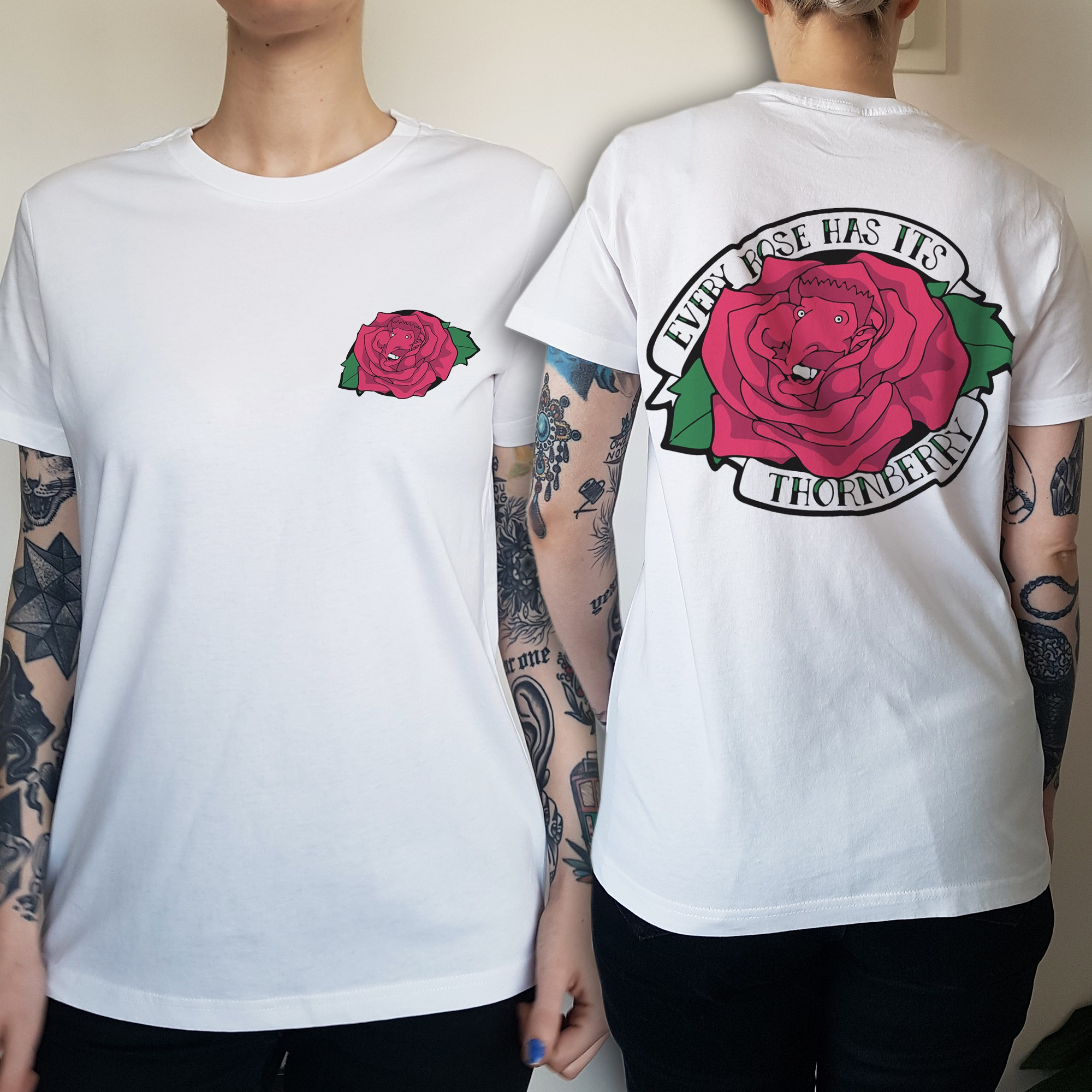 WOMENS EVERY ROSE FRONT AND BACK WHITE TEE