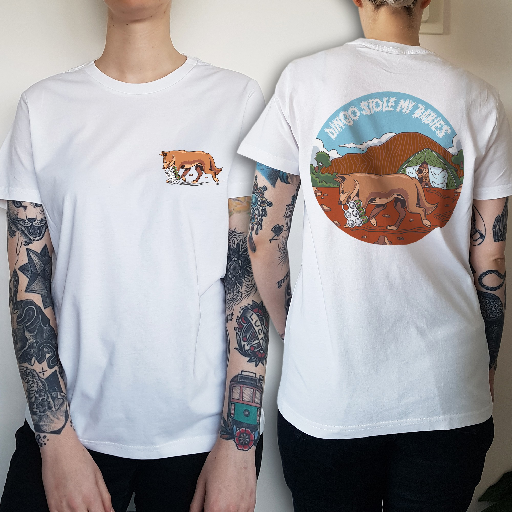 WOMENS DINGO FRONT AND BACK WHITE TEE