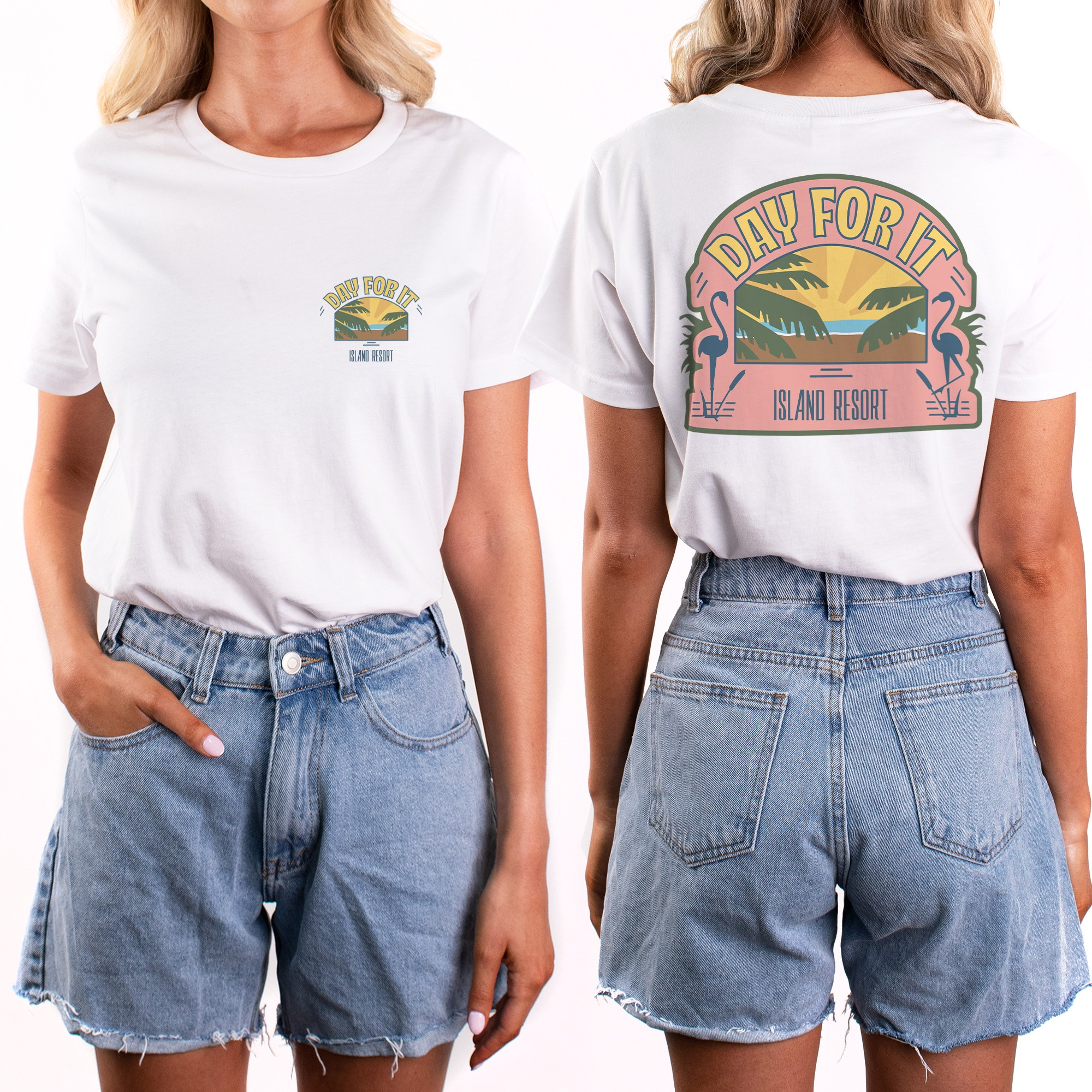 ISLAND RESORT DAY FOR IT WOMENS FRONT AND BACK TEE