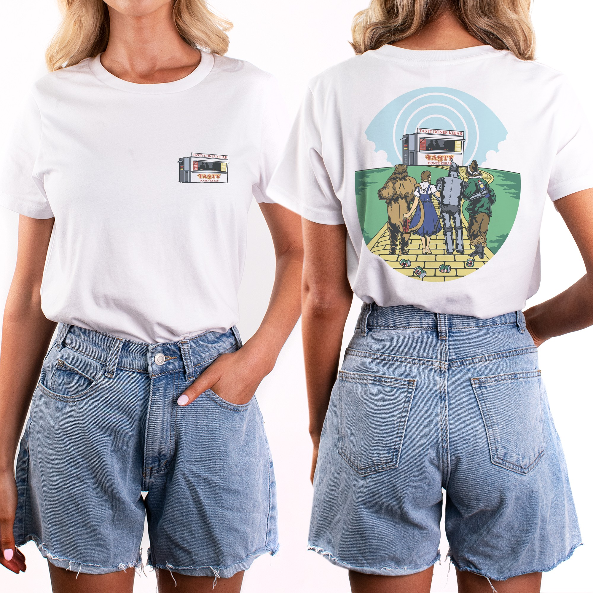 WOMENS WIZARD OF GROG FRONT AND BACK WHITE TEE