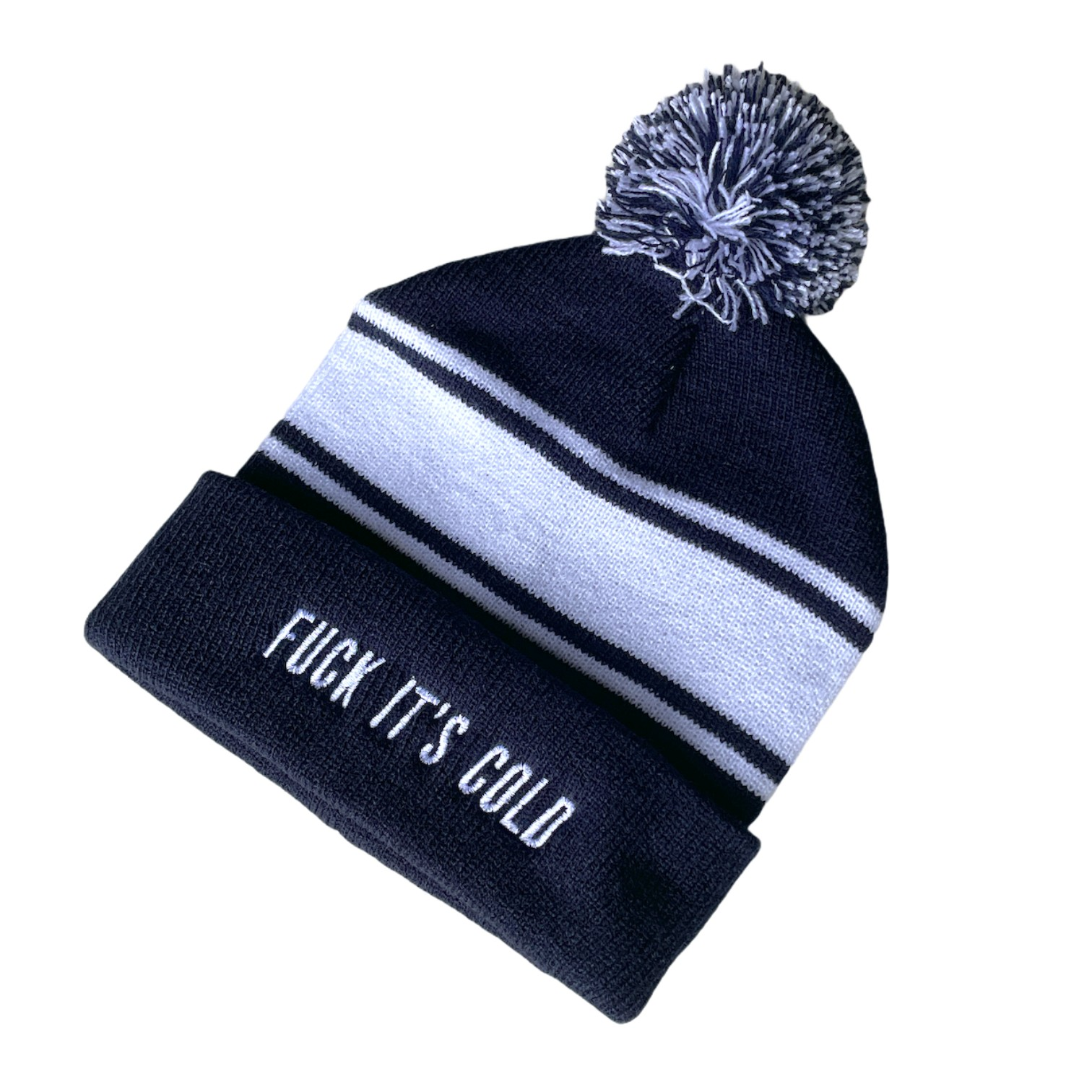 ITS COLD NAVY/WHITE BEANIE
