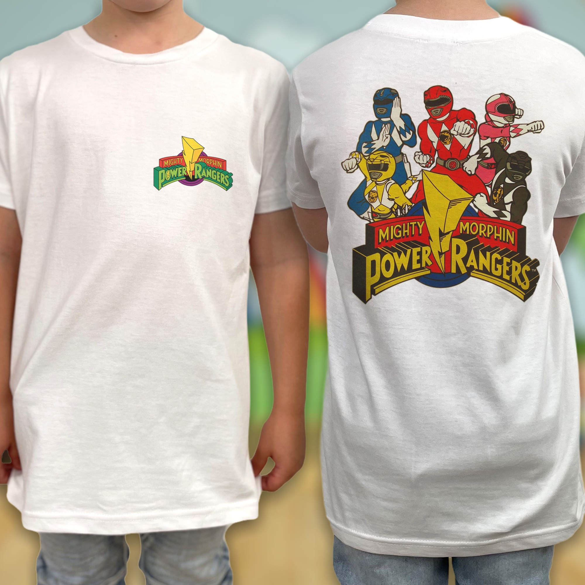 MMPR FRONT AND BACK KIDS TEE