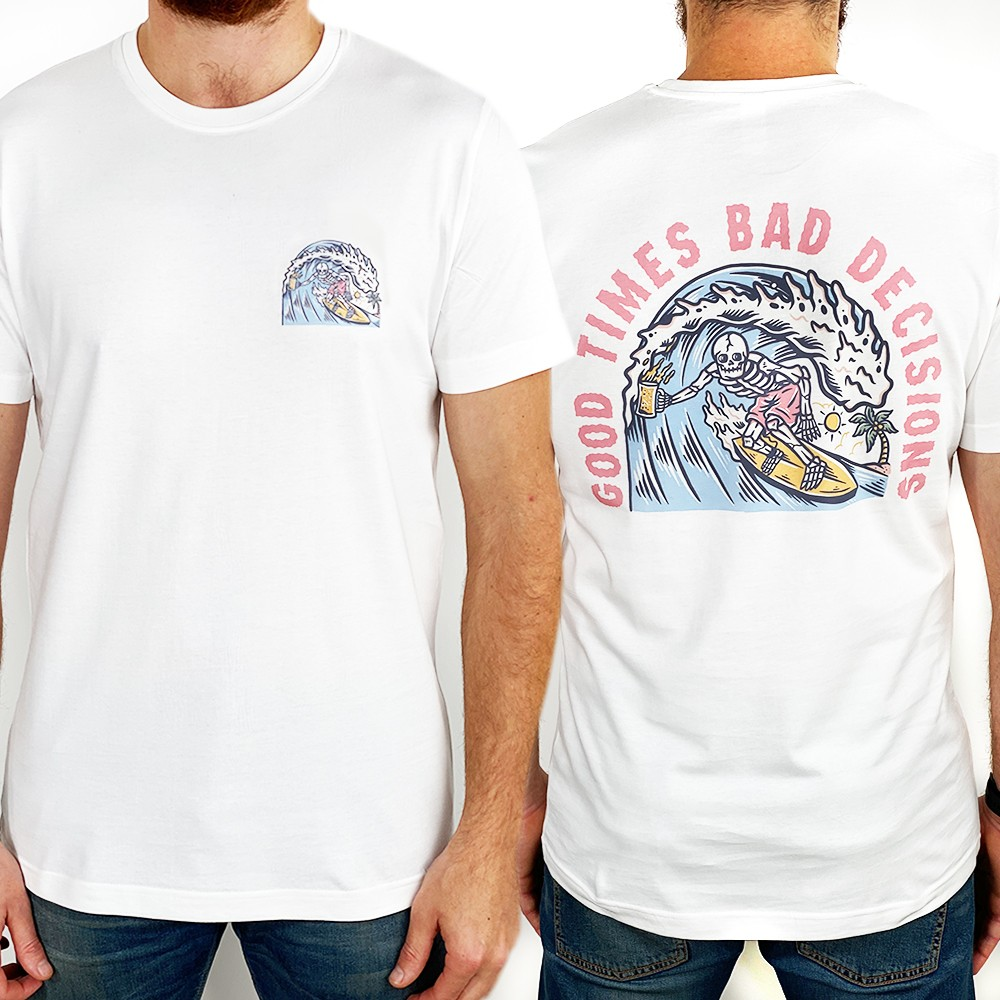 GOOD TIMES FRONT AND BACK WHITE TEE