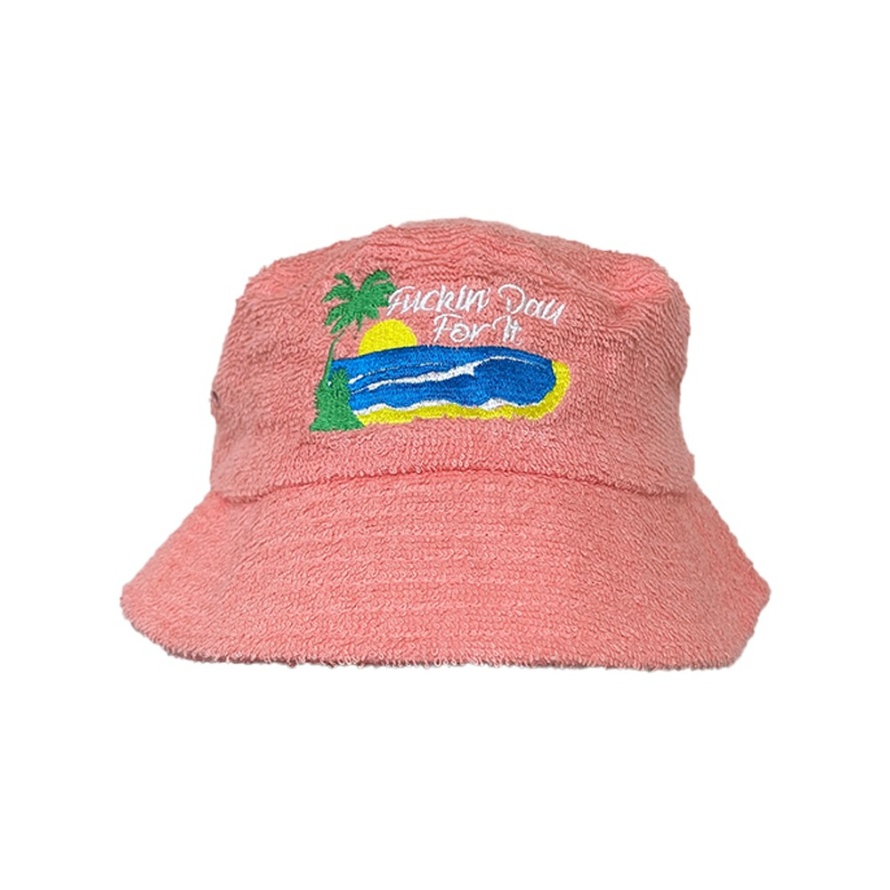 DAY FOR IT PEACH TERRY TOWEL BUCKET HAT