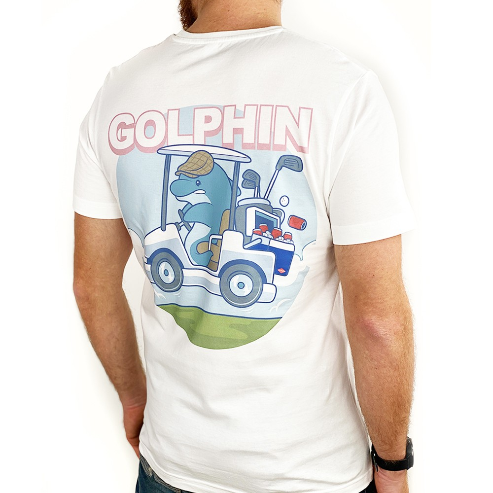 GOLFIN DOLPHIN FRONT AND BACK WHITE TEE