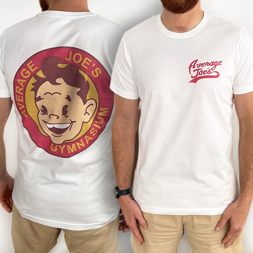 AVERAGE JOES FRONT AND BACK WHITE TEE