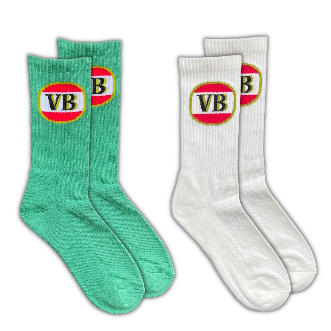 2 PACK VB SOCKS SAGE/OFF WHITE