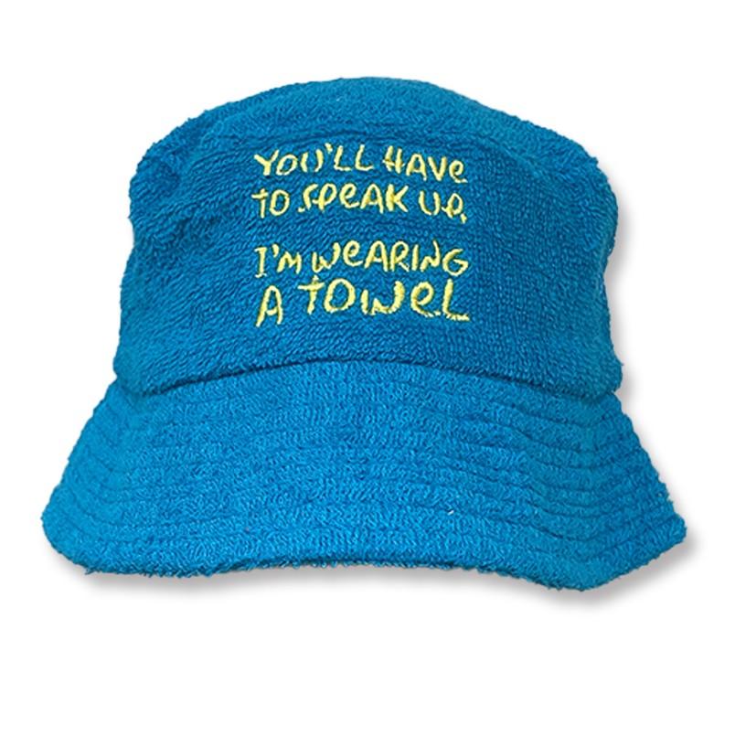 I'M WEARING A TERRY TOWEL BUCKET HAT