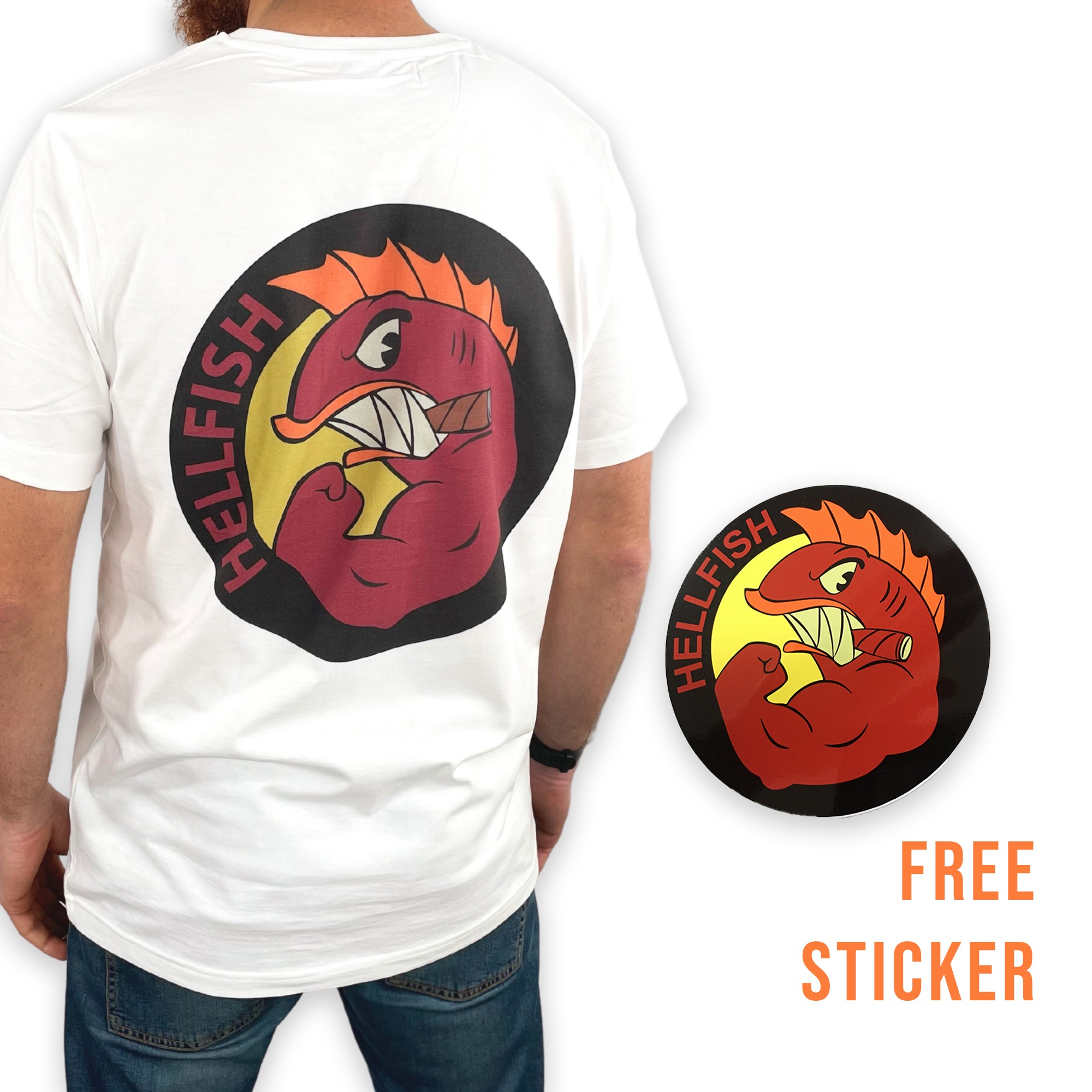 HELLFISH FRONT AND BACK WHITE TEE FS