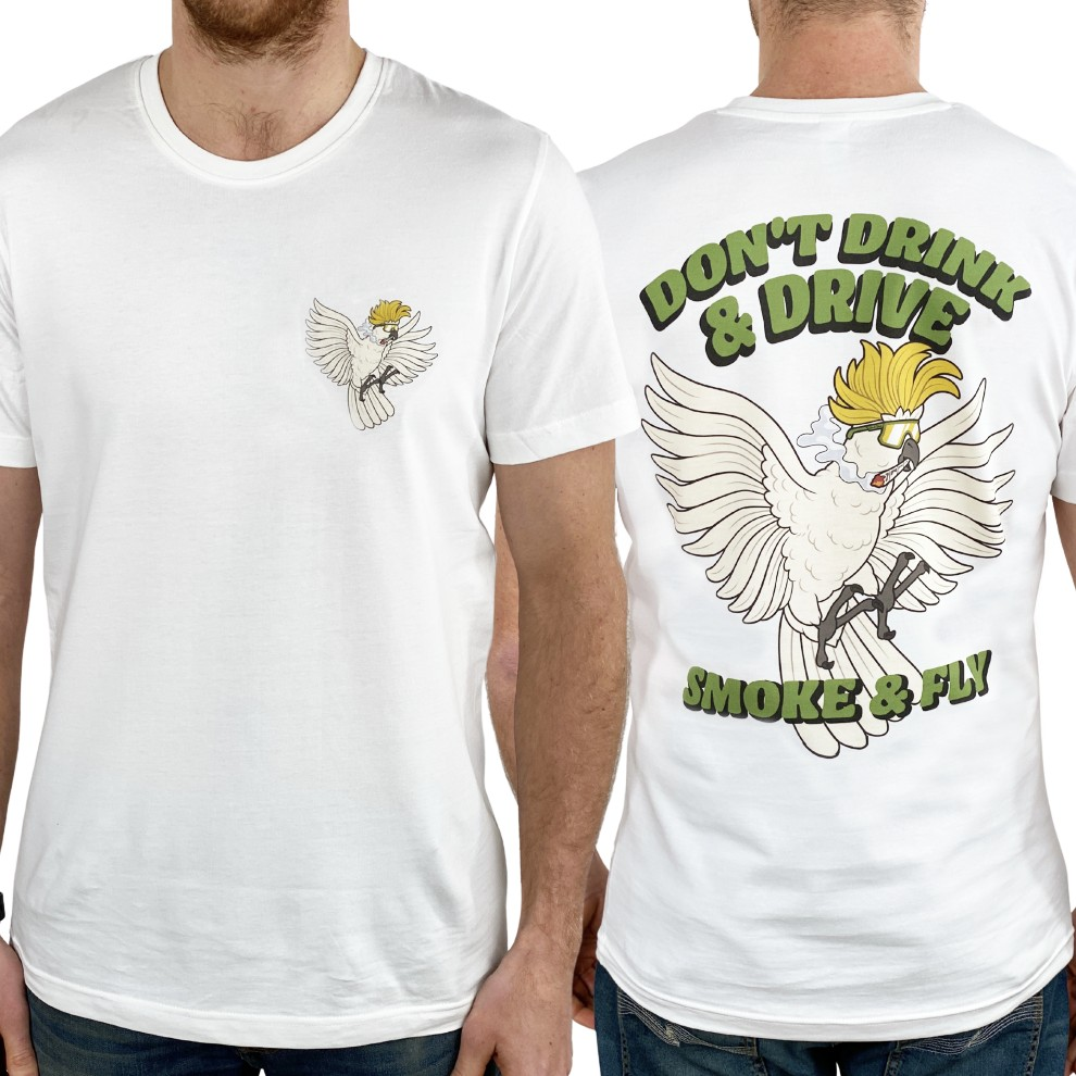 DON'T DRINK AND DRIVE FRONT AND BACK WHITE TEE