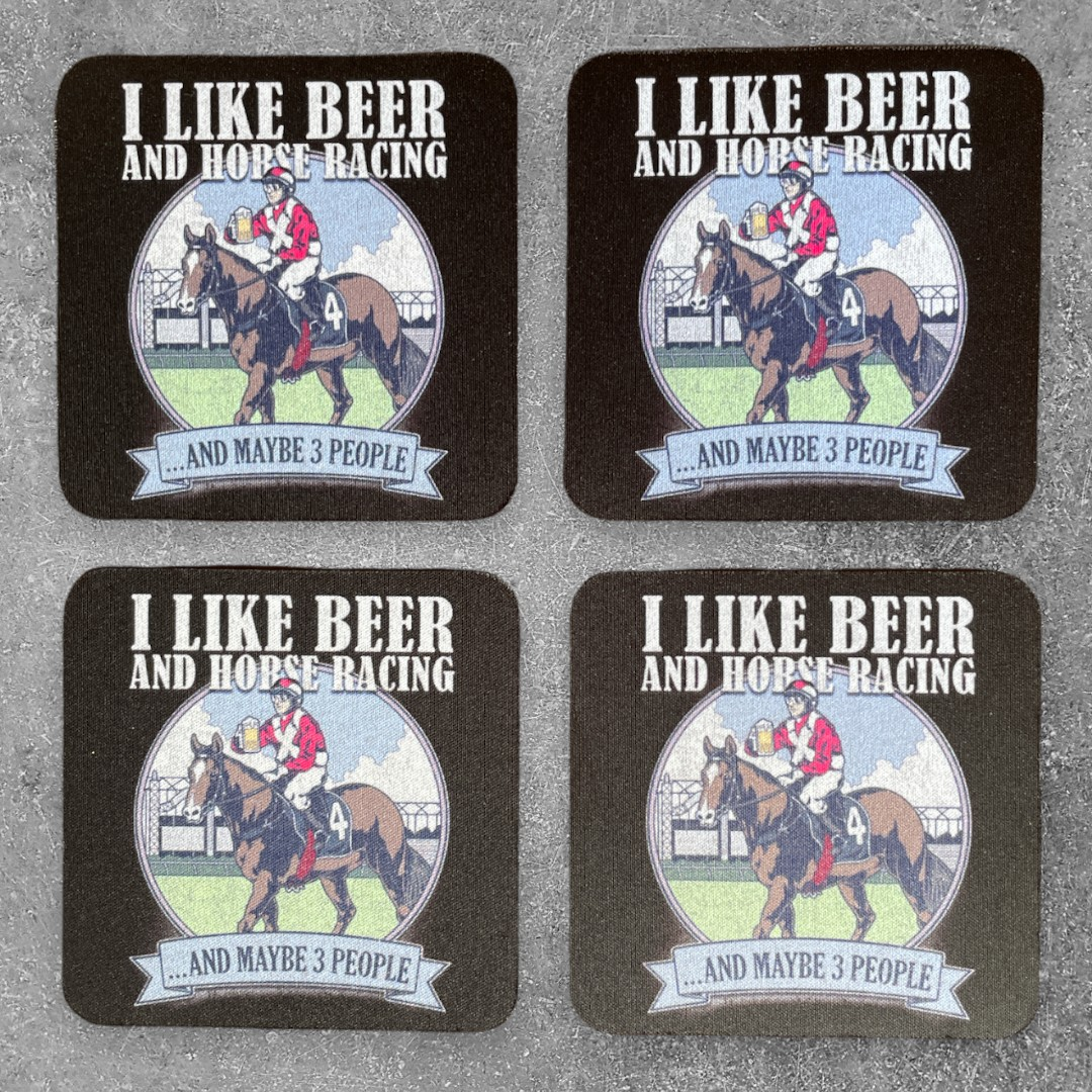 BEER AND HORSE RACING COASTER 4 PACK COMBO