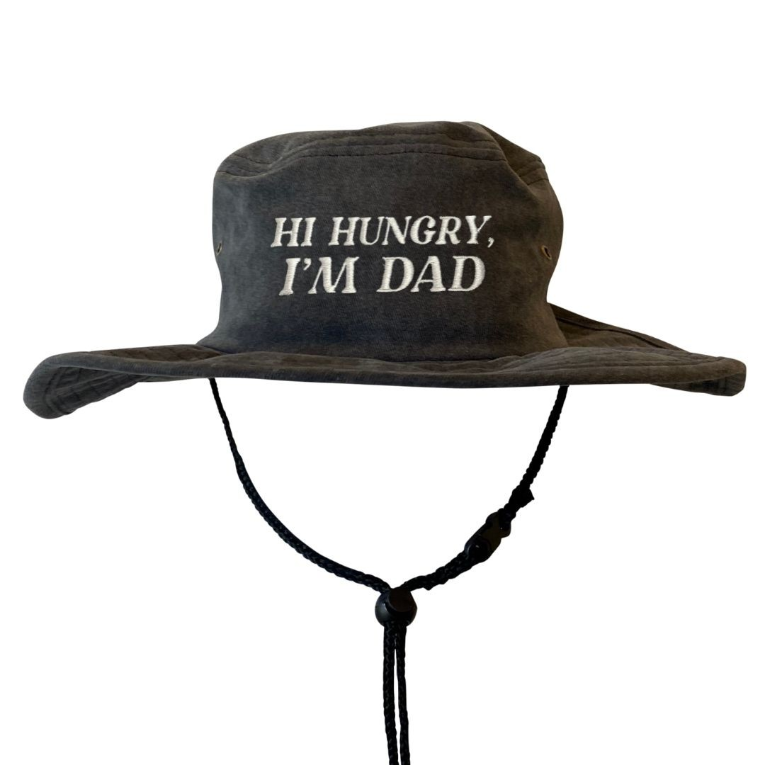 HI HUNGRY STONEWASHED BLACK WIDE BRIM HAT