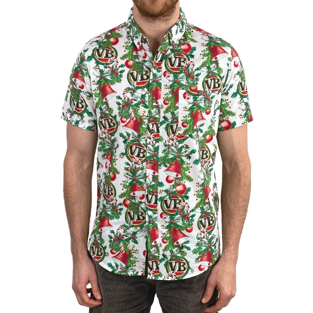 BAUBLES BUTTON UP PARTY SHIRT