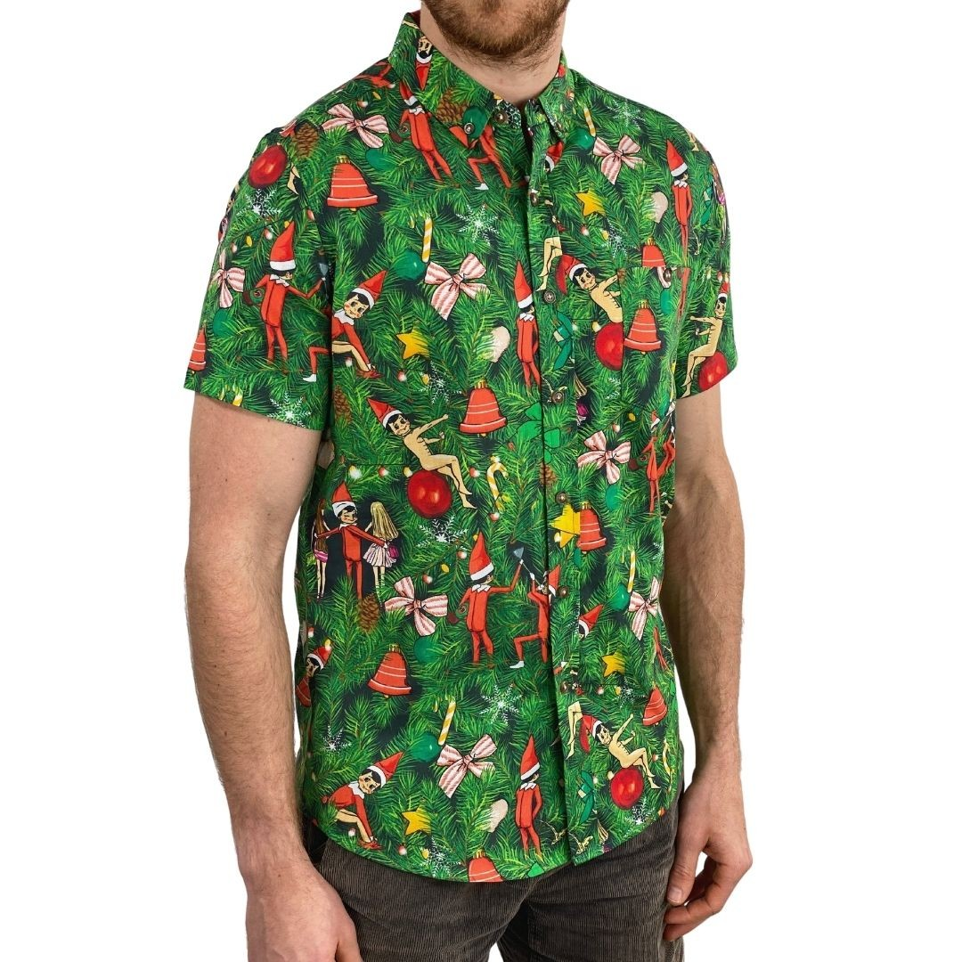CHEEKY ELVES BUTTON UP PARTY SHIRT