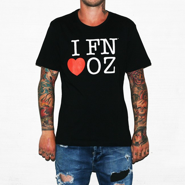 FN LOVE AUS BLACK TEE