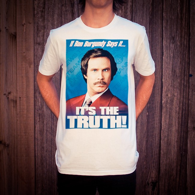 RON BURGUNDY WHITE TEE