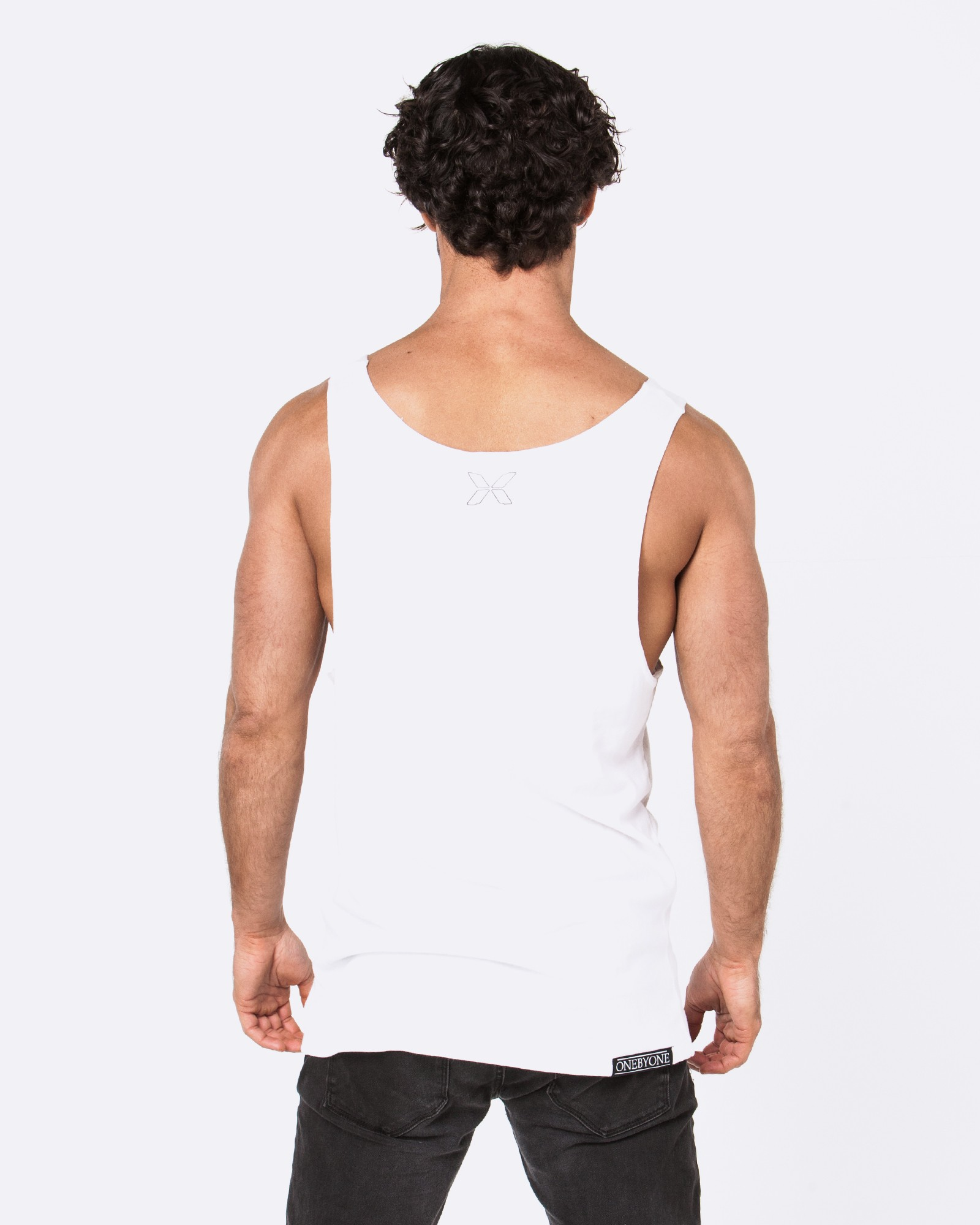 COMES AND GOES WHITE SINGLET