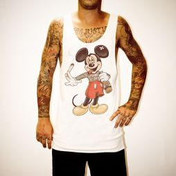STONED MOUSE WHITE SINGLET