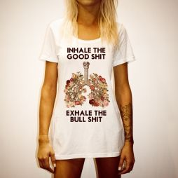 INHALE EXHALE WOMENS WHITE TEE