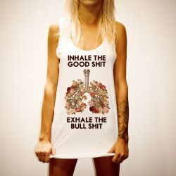 INHALE EXHALE WOMENS WHITE SINGLET
