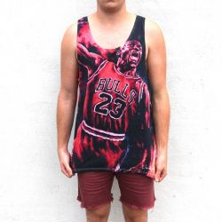 FULL PRINT JORDAN IN FLAMES SINGLET