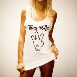 MISS THUG WIFE WOMENS WHITE SINGLET