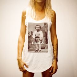 DRUGS WHITE WOMENS SINGLET