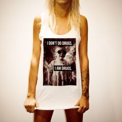 I DON'T DO DRUGS WHITE WOMENS SINGLET