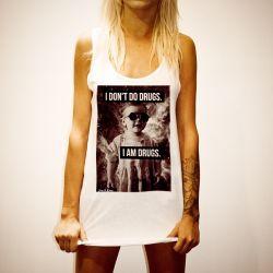 I DON'T DO DRUGS WHITE WOMENS SINGLET
