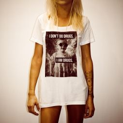 I DON'T DO DRUGS WHITE WOMENS TEE