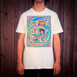STOP DROP ROLL WHITE TEE