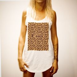 LEOPARD CUNT WHITE WOMENS SINGLET