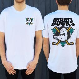 MIGHTY DUCKS FRONT AND BACK WHITE TEE