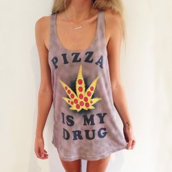 FULL PRINT PIZZA IS MY DRUG WOMENS SINGLET